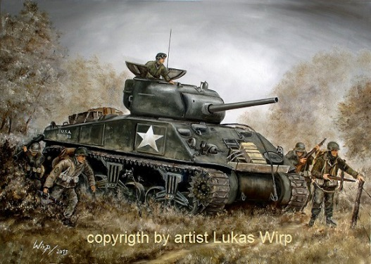 US sherman tank of the 28th US infantry division